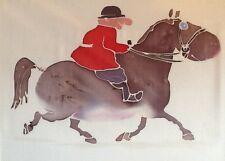 Hazel Burrows Original Painting on Silk Mounted ready to frame Huntsman on Pony