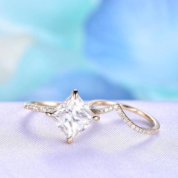 2ct Princess Cut Diamond Bridal Wedding Set Engagement 14k Yellow gold Finish