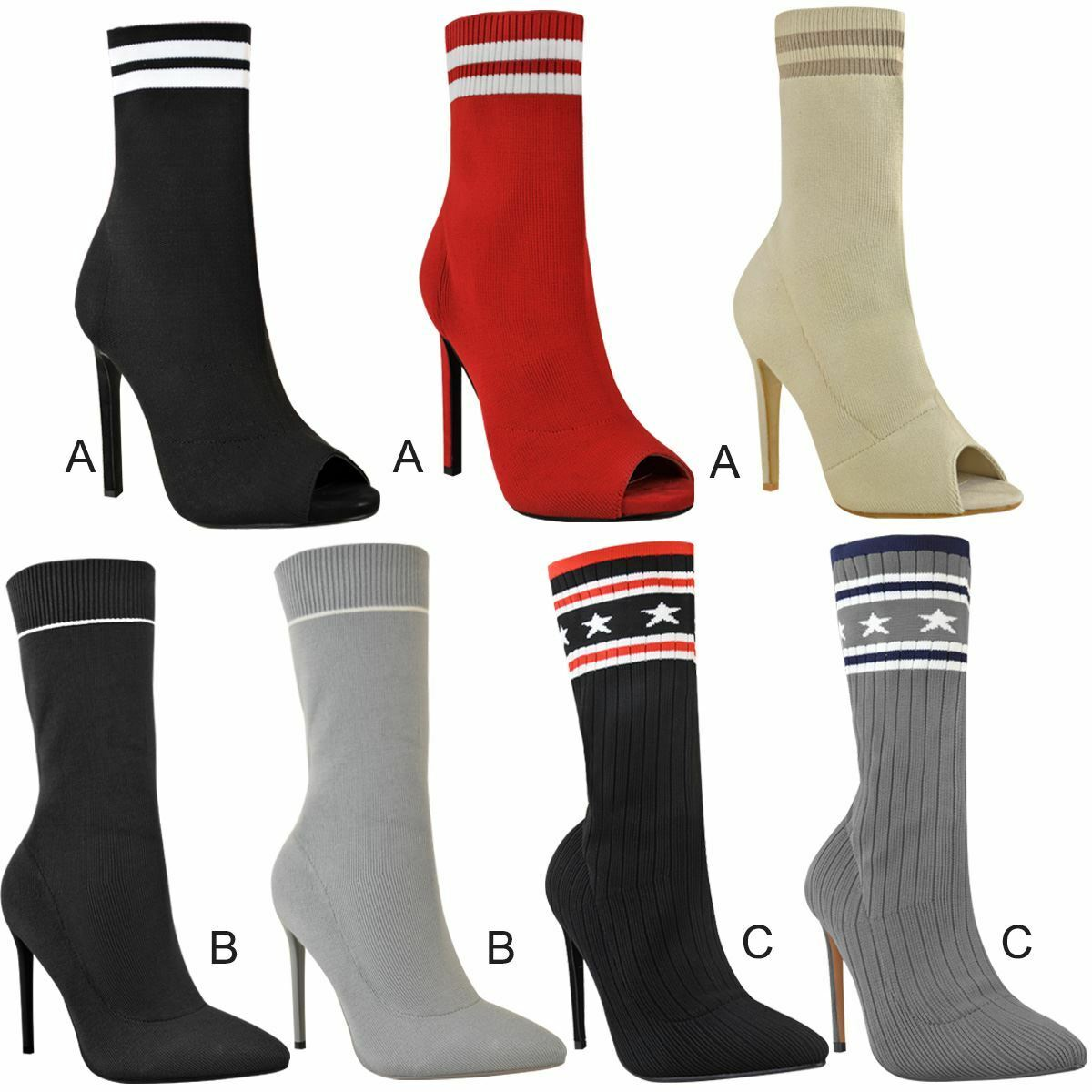 Womens Ladies Sock Ankle Boots Stretch Knit Sexy Party Clubbing New Size