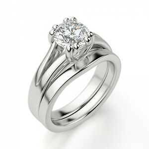 2.00 Ct Round Moissanite Band Set 14K Anniversary Ring Solid White Gold Size 7