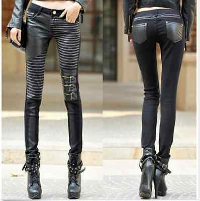 Women Punk Mixed Denim Zip PU Leather Slim Fit Casual Pant Straight Trousers S98