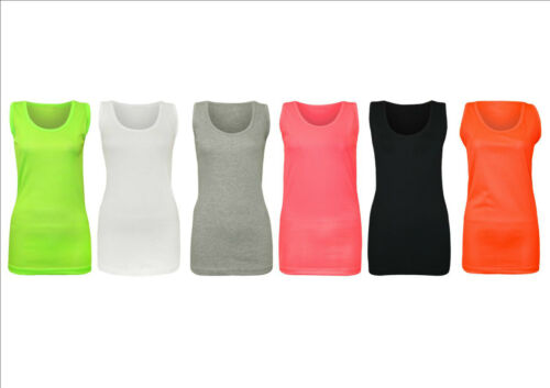 NEW WOMENS PLUS SIZE LADIES SLEEVELESS STRETCH VEST LONG TOP CAMI T-SHIRT