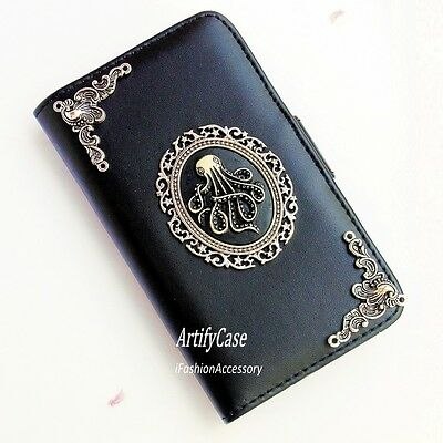 Octopus phone wallet case Handmade Victorian stand cover For Samsung Note 2 3 4
