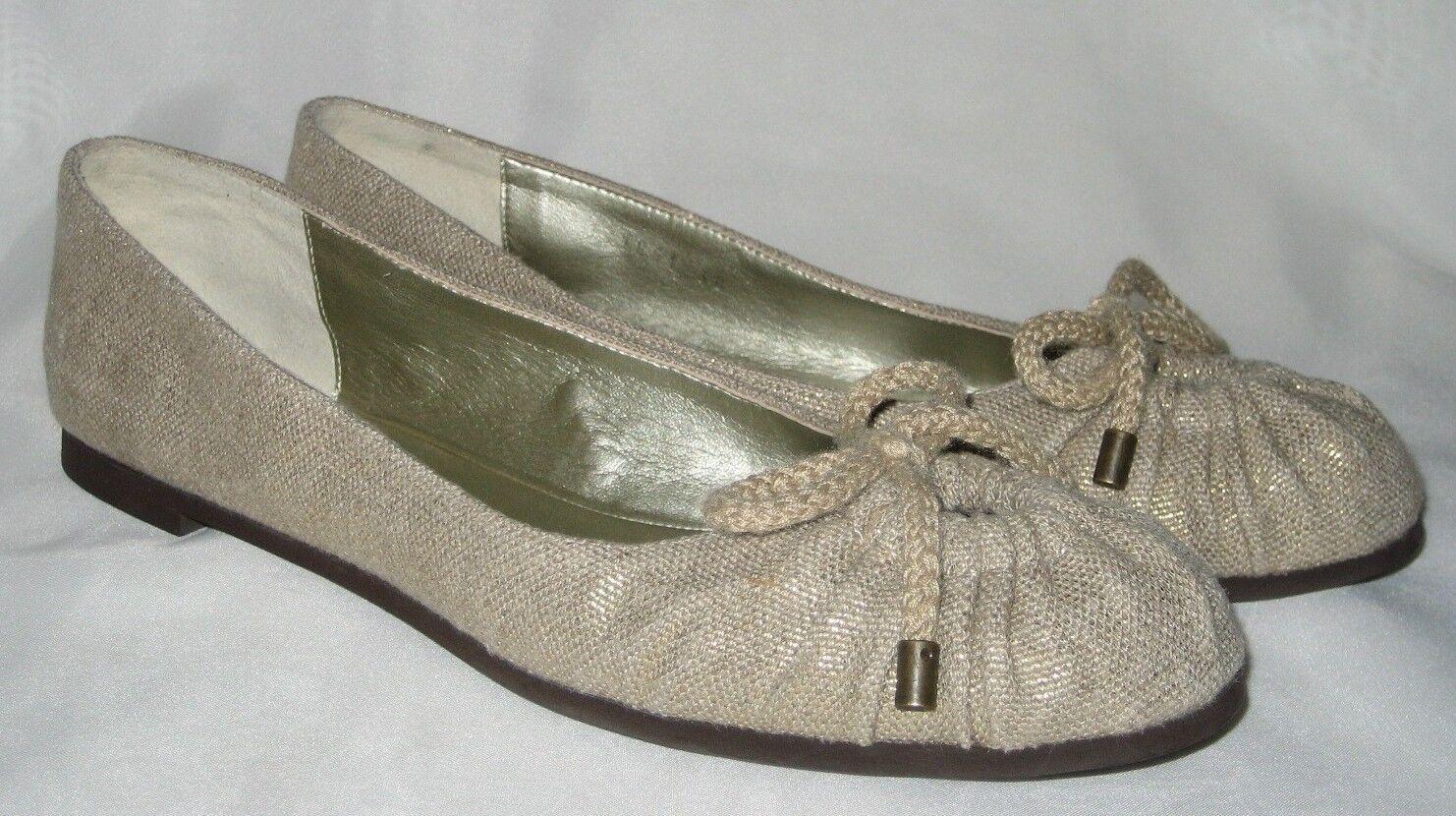 STELLA McCARTNEY Linen w/ Gold Ballet Flats EUR 7.5 US / 38 EUR Flats  Mint Condition c42731