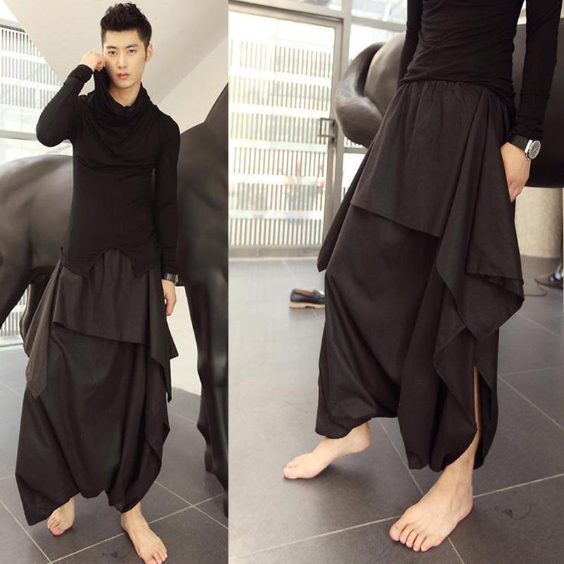 Fashion Men's Korean Loose Show Dress Casual Pants Special Irregular  Trousers