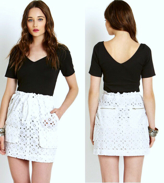 255 2b. RYCH Optic White Drawstring Eyelet Mini Skirt 12