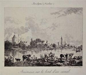 Gravure-Antique-Print-Animaux-sur-le-bord-d-039-un-canal-d-039-apres-Nicolas-Berchem