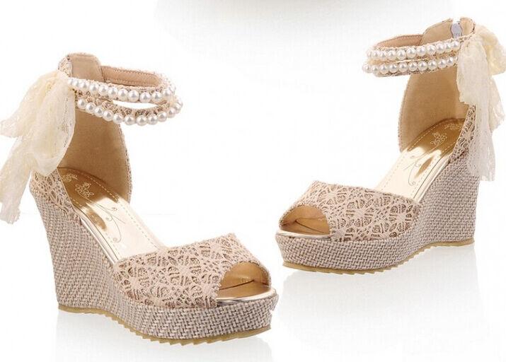 Women's sandals wedges 10 cm with bracelet pearls colour light cod. 8021