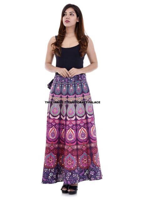 Indian Women Peacock Mandala Rapron Printed Cotton Long Skirt Wrap Around Skirt