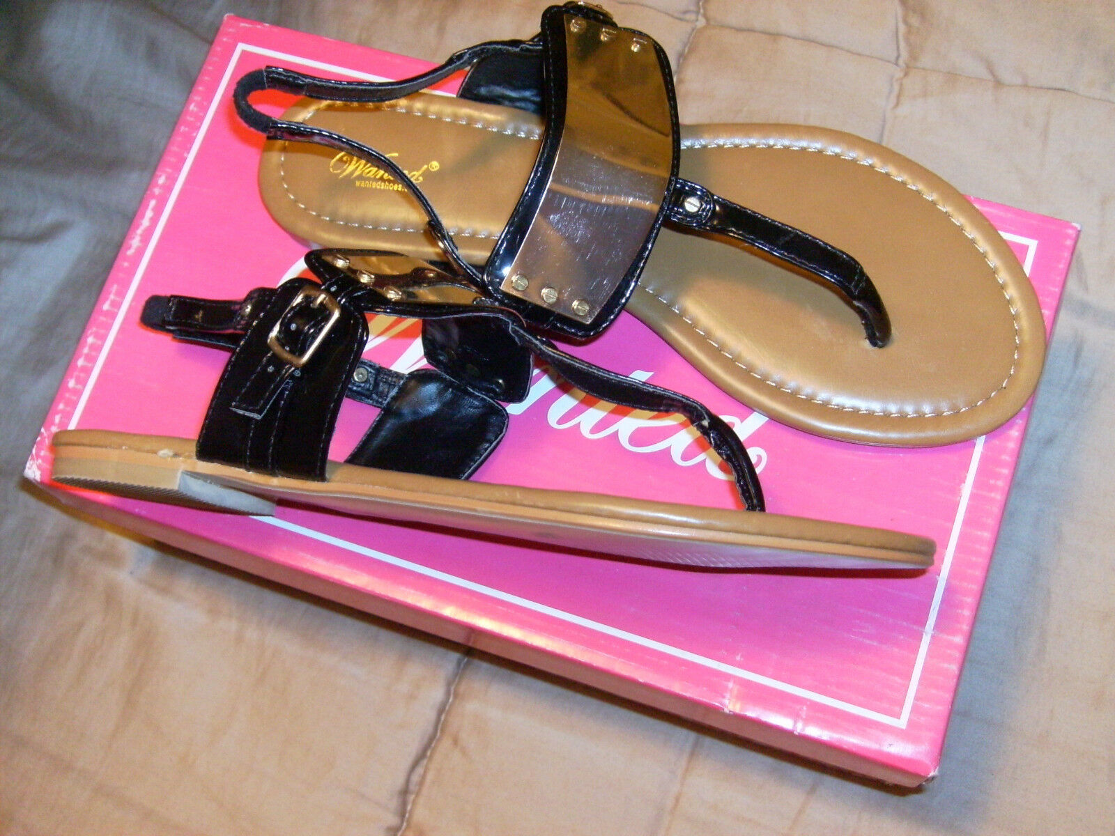 BY Wanted 717191 Shoes; Women's Cocoa Thong Sandal,Black Patent,8 M 717191 Wanted NWB SZ 8M ea2570