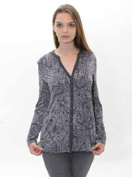 - 30% Shirt Blause von Simclan anthrazith grau gemustert, Gr. 38-42, neu