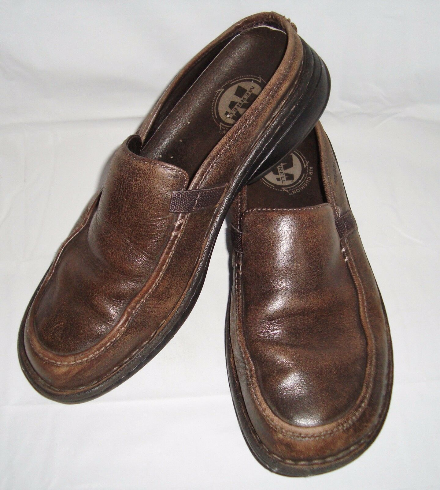 Merrell Tetra Slide Brown Leather Mules Dark Earth Brown 9.5 Slip On shoes