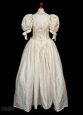 Vintage Wedding Dress Victorian Fairytale Collection Ivory Silk 10 Bow Train 653