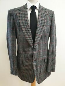 N653 Mens Austin Reed Grey Red Check Wool Tweed Blazer Jacket Uk M Eu 48 Ebay