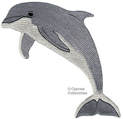 R Ocean Gray Embroidered Iron On Patch Dolphin Bottlenose