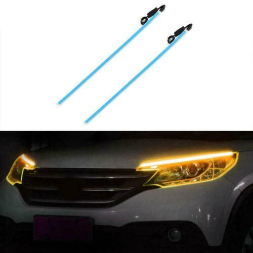 2Pcs Flexible DRL LED Night Daytime Running Light Strip No Disassembling Ne W8P9