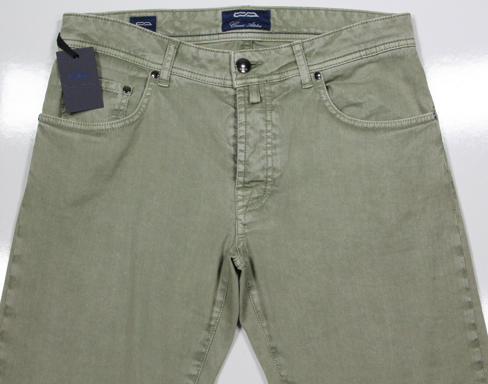 NWT New  CESARE ATTOLINI  Current Olive Green Cotton-Linen Stretch Jeans 32x32