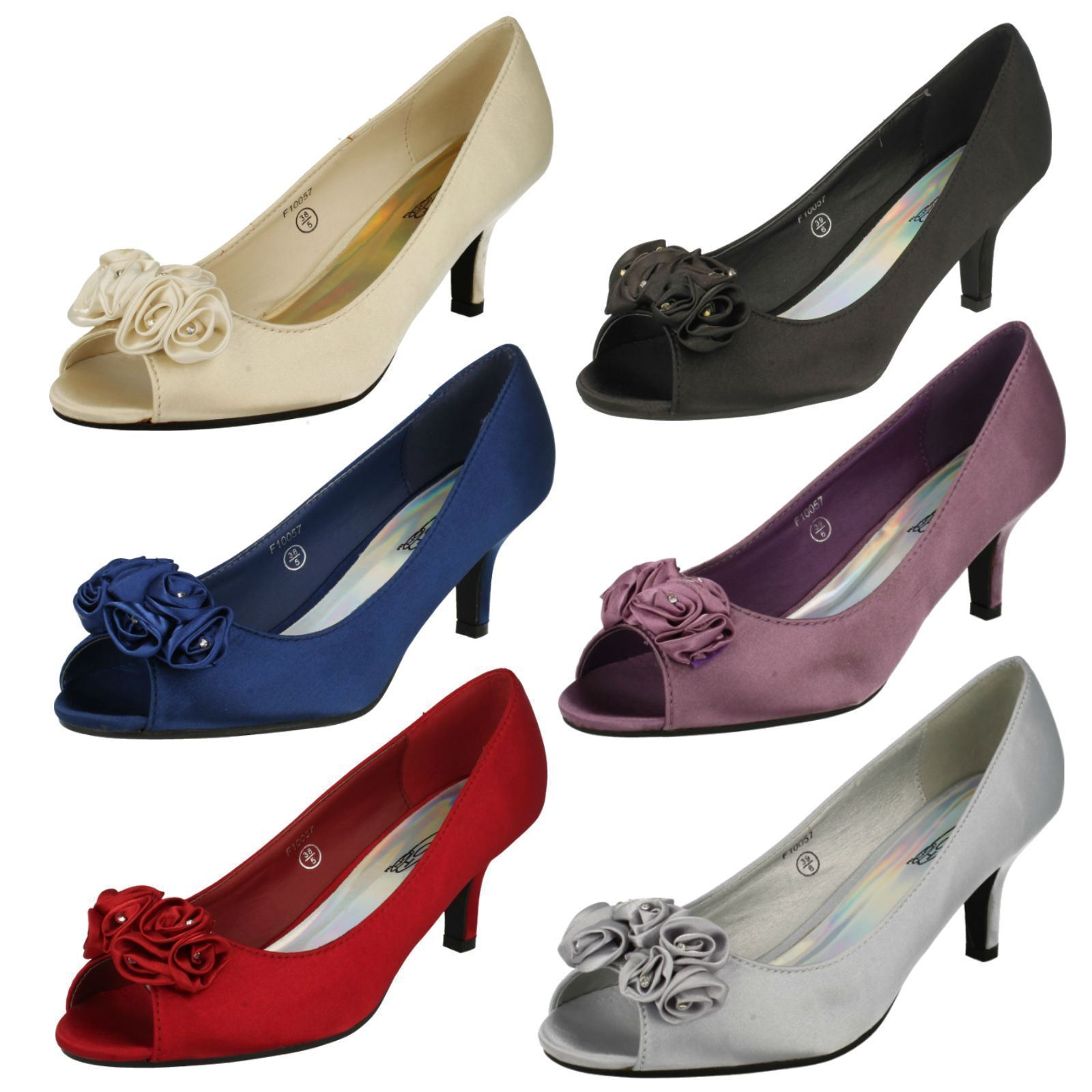 Ladies F10057 Peep-Toe Satin Heel Shoes with Flower   by SPOT ON £24.99