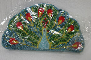 C-Marie-Brand-Beaded-Coin-Purse-Peacock-Beaded-on-both-sides-NEW-with-Tags