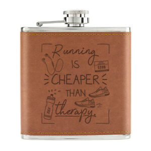 Course-Est-moins-Cher-Que-Therapie-170ml-Cuir-PU-Hip-Flasque-Fauve-Joke-Marathon