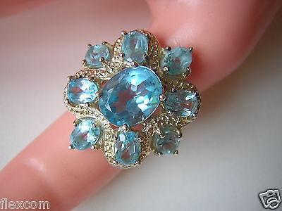 Jewelry & Watches Opulenter Ring Aus 925 Sterling Silber Mit Blauen Farbsteinen 8,4 G /rg 53 Attractive Appearance Fine Jewelry