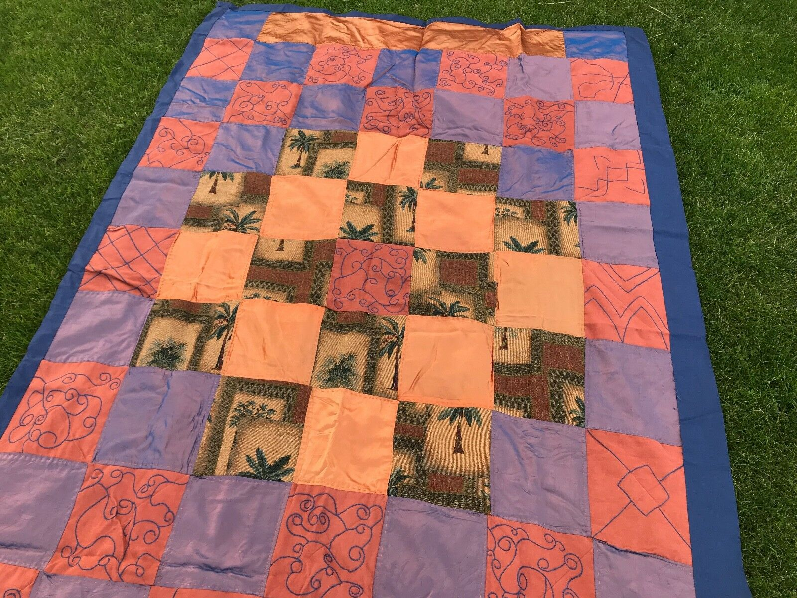 COVERLET, TWIN BEDSPREAD PATCHWORK, HANDSTITCHED MULTI MATERIAL PALM TREES