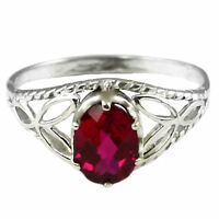 Created Ruby, 925 Sterling Silver Ring-Handmade, SR137