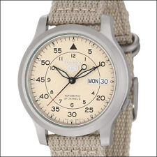 Seiko 5 Military-Style Automatic Field Watch with Beige Canvas Strap #SNK803K2