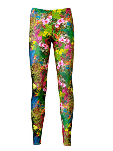 Tropical Floral Flowers Leaves Leopard Skin Animal Print Alternative Leggings