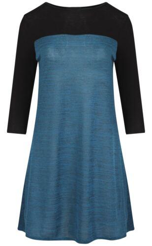 New Womens Color Block ¾ Sleeve Skater Dress 8-14