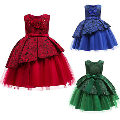 Child Girls Lace Dress 1//2 Sleeve Bowknot?Princess Wedding Formal?Tutu Dress Clothes