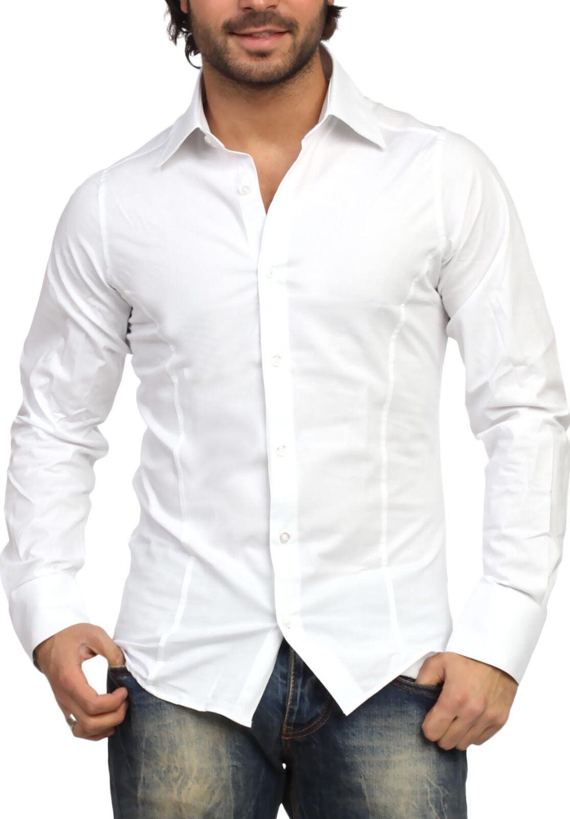 Bianca - White Men's Long Sleeved Shirt Fashion