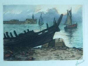 Xx-Litho-Originell-Unterzeichnet-Am-Bleistift-Vom-Zeichner-Saint-Gravur-Marine