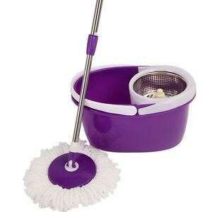 Purple 2 Heads 360? Magic Spin Mop Stainless Steel Dehydrate Basket W ...