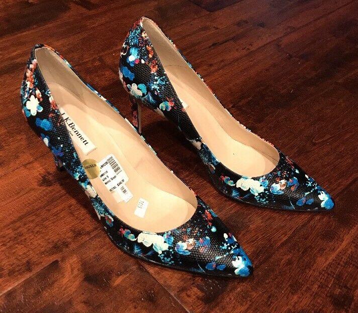 L.K. Bennett Dark bleu Floral Heels, Taille 9 (US) 39 (EU) NEW  345