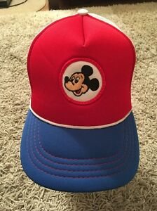 a9b7b9c0f49 Image is loading Vintage-Walt-Disney-Mickey-Mouse-SnapBack-Trucker-Hat-
