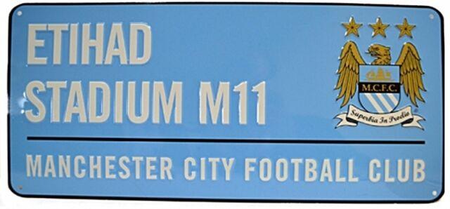 Manchester City FC Etihad Estadio Metal Cartel de Calle (Azul) ( Bst ) el Último
