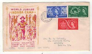 1957 Scout Jubilee Jamboree Indaba Camp Fdc Sutton Coldfield Slogan