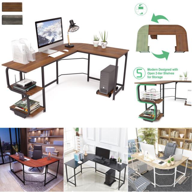 L Shaped Shelves Corner Desk Computer Desk Gaming Table Home Office Workstation