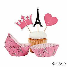 PARIS CUPCAKE TOPPER PICKS and BAKING CUPS (LOT OF 100) EIFFEL TOWER