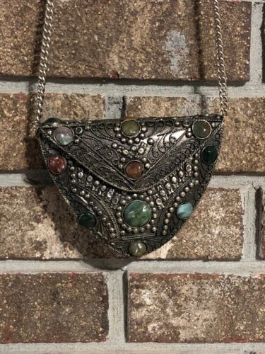 Vintage 1980s hand crafted artisan shoulder bag early 80s iridescent metallic leather purse with beaded tassels