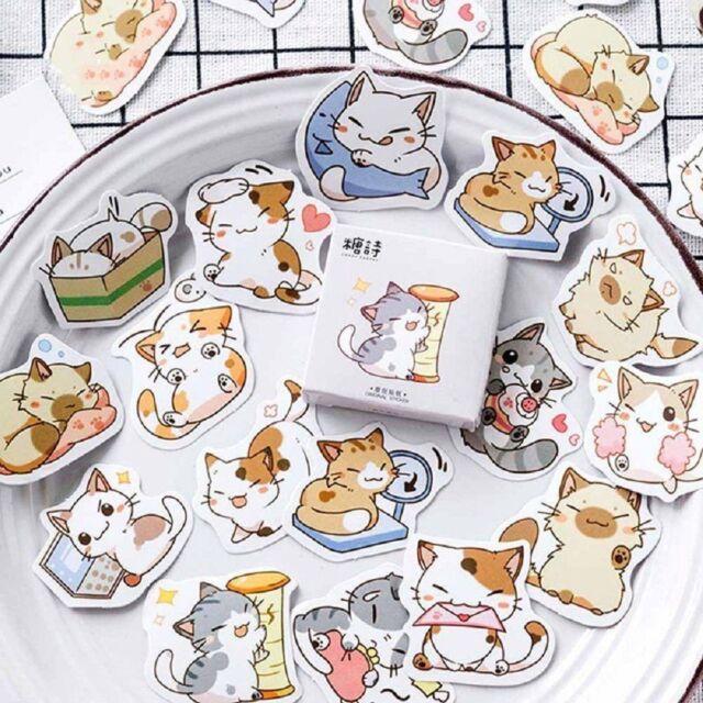 45Pcs/BOX Japanese Cute Cat Stickers Diary Decoration DIY Scrapbooking Stickers