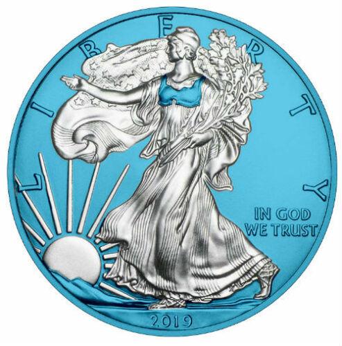AMERICAN SILVER EAGLE GALVANIC SPACE BLUE 2019 1 oz Pure Silver Coin Capsule