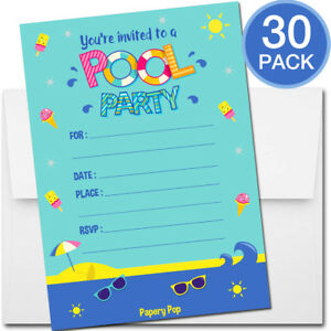 Image Is Loading 30 Pool Party Invitations With Envelopes Kid Birthday