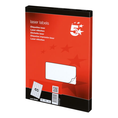 5 Star Office Multipurpose Labels Laser 65 per Sheet 38.1x21.2mm White 6500 Labe