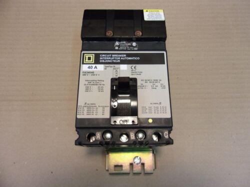 SQUARE D FA FA34040 3 POLE 40 AMP 480v Circuit Breaker GRAY LABEL