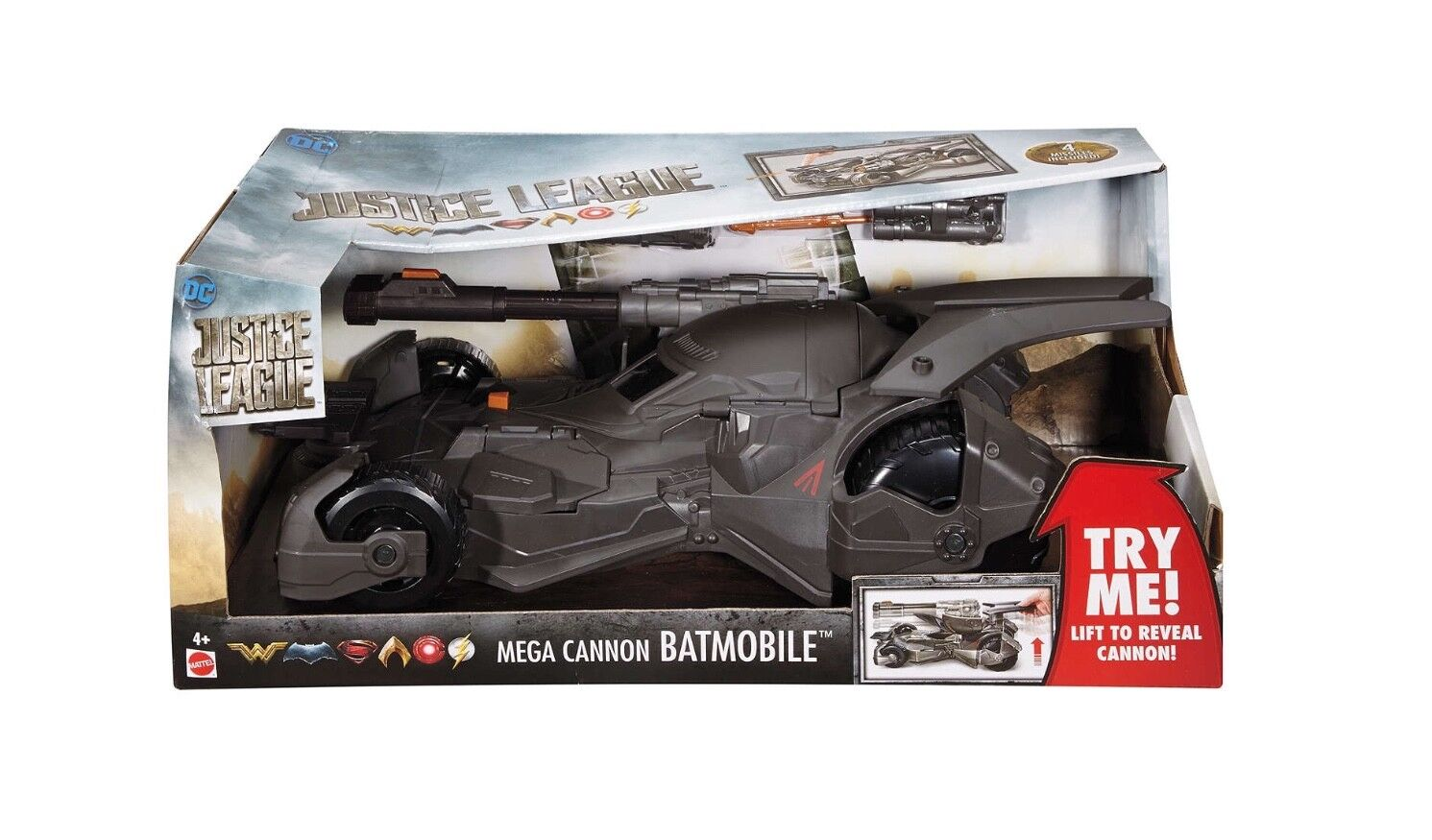 DC Justice League Mega Cannon Batmobile Vehicle Ages 4+ Toy Car Tank Batman Play