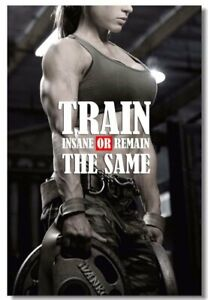Poster Bodybuilding Men Girl Fitness Workout Quotes Motivational Font Print 014