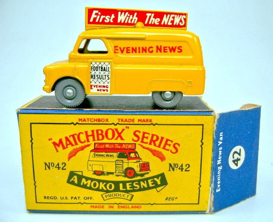 Matchbox RW 42a evening news van fina gris ruedas Top en  b  box