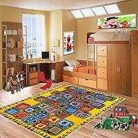 Abc Blocks Kids Area Rug 3' X 5' Children Crayons Carpet Non Skid Gel Backing
